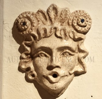Hand made terra cotta female wall mask. Sizes may vary slightly and each color is one of a kind. Mask can be used as water feature.