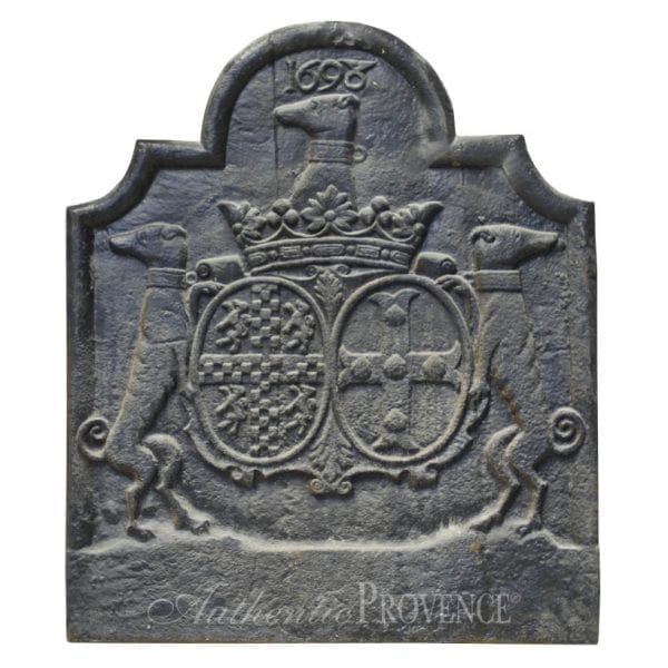 Fireback depicting two greyhounds topped by the Royal Crown