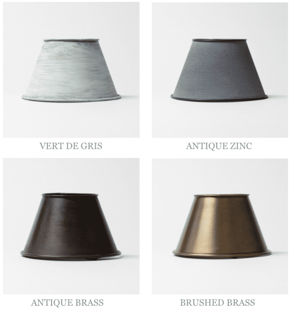 Zinc Brass Vert de Gris Lantern Finishes