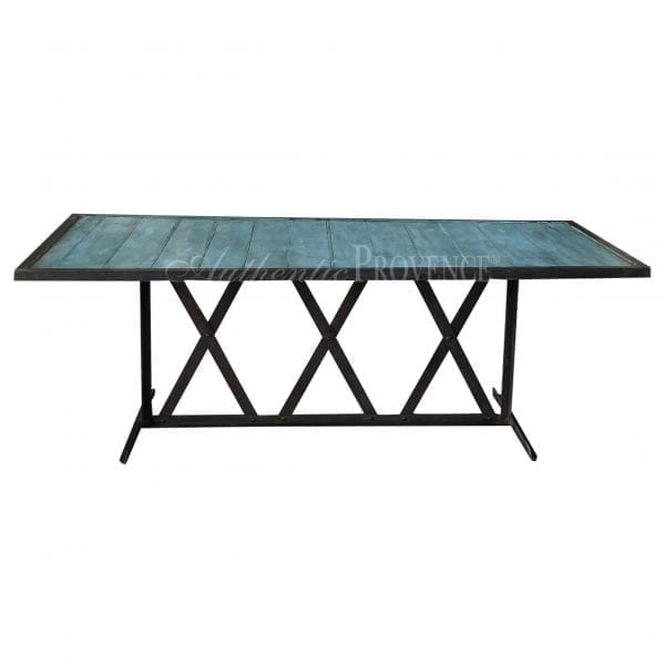 Unique colored turquoise rectangular dining table with painted wooden inlaid slats and iron base from South of France.