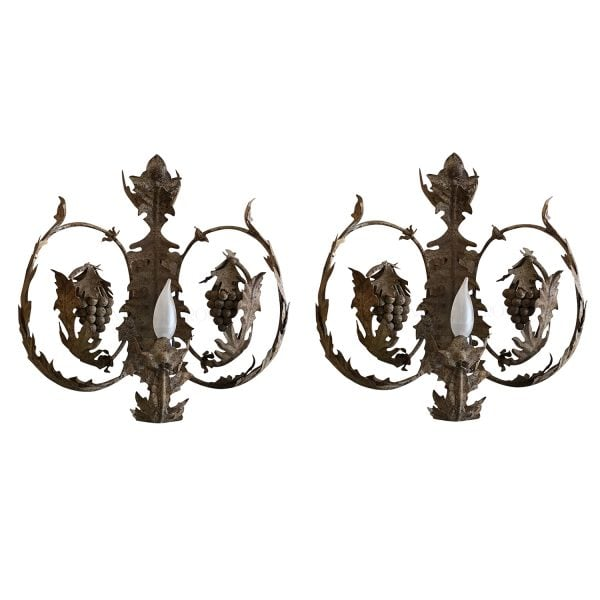 Apair of beautiful iron wall sconces has delicate grapes and leaves cascading around the sconce, electrified.