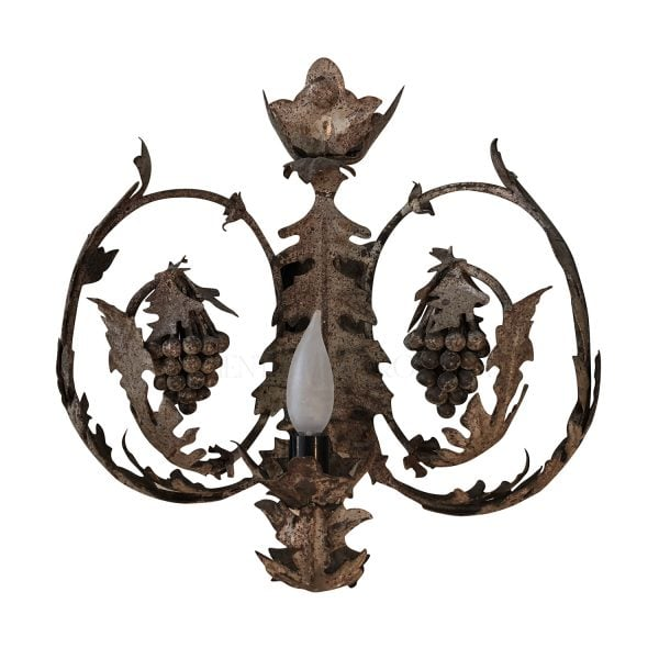 Abeautiful iron wall sconce with delicate grapes and leaves cascading around the sconce, electrified.
