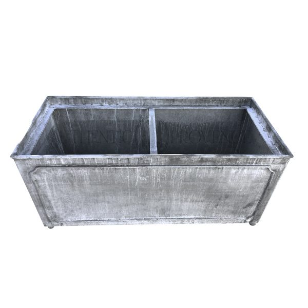 Overhead view of a large rectangular planter in galvanized metal with a lead finish