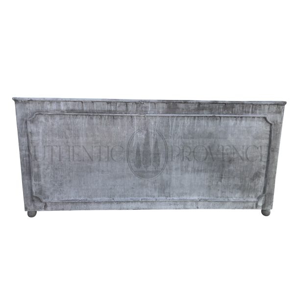 Front view of a large rectangular garden planter in galvanized metal with a lead finish