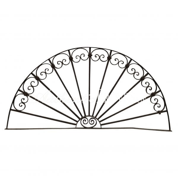 """A simple antique """"demi lune"""" or half moon wrought iron gate insert"""