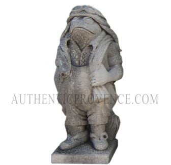 "One of set of four limestone ""moquerie"" statues representing different trades. This statue is of a frog pilot"