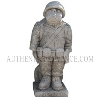"One of set of four limestone ""moquerie"" statues representing different trades. This statue is of a chicken soldier"