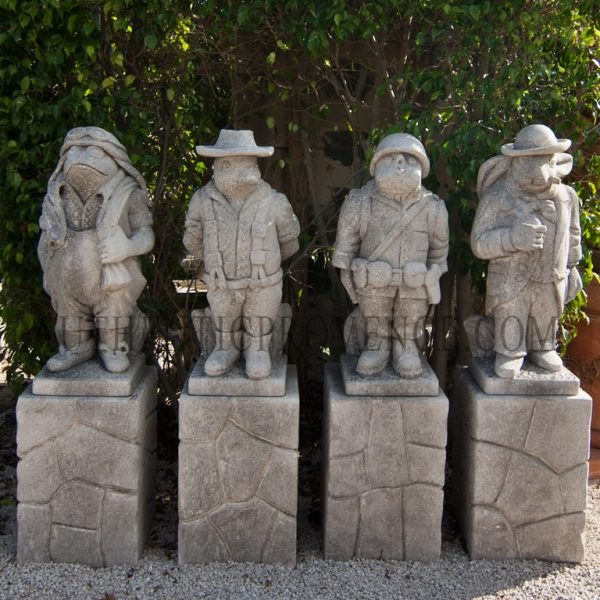 "Set of four limestone ""moquerie"" statues with a chicken soldier, duck farmer, rabbit businessman, and frog pilot."