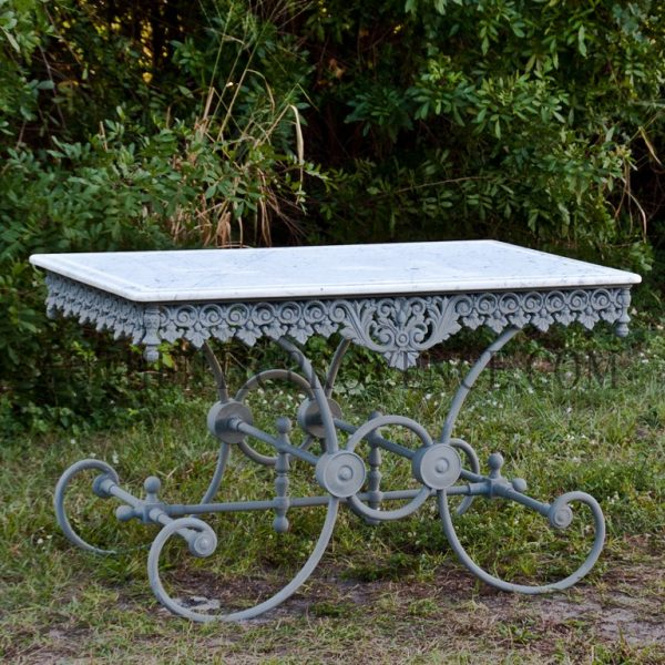 """This charming """"fin de siecle"""" butcher table has a marble top. Recently refinished in antique zinc"""