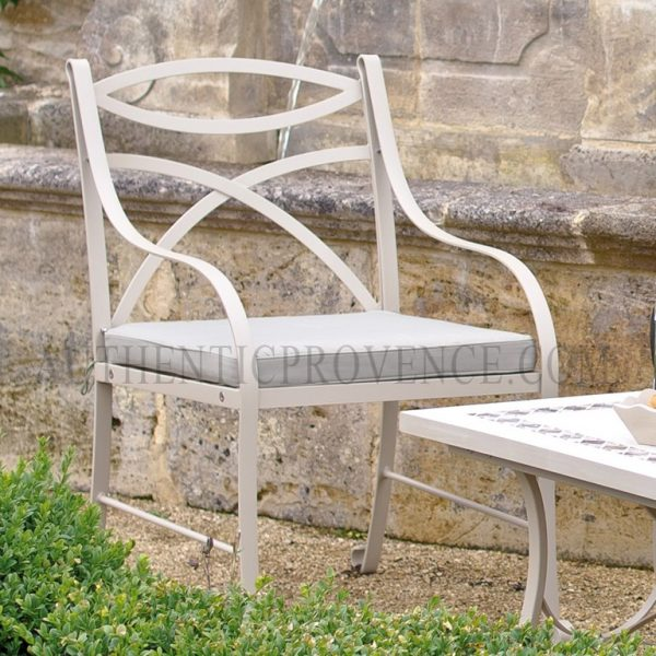 The Montpellier chair has galvanized metal frame with smooth curves