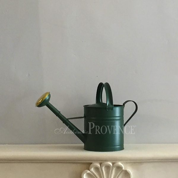Green watering can made of durable powder coated steel with a fine round hose and generous handle