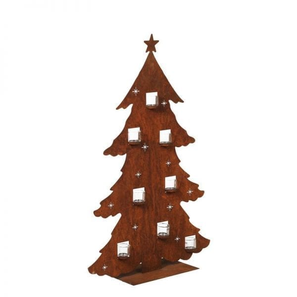 A minimalist Christmas tree in a bronze patina with cut outs for placement of 8 glass votives.