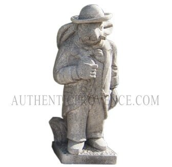 "One of set of four limestone ""moquerie"" statues representing different trades. This statue is of a rabbit businessman"