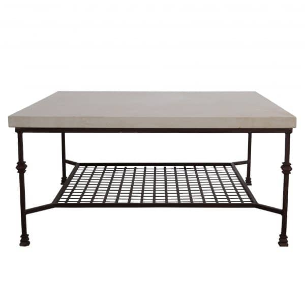 Side view of a coffee table with square French limestone top on an iron base with grid
