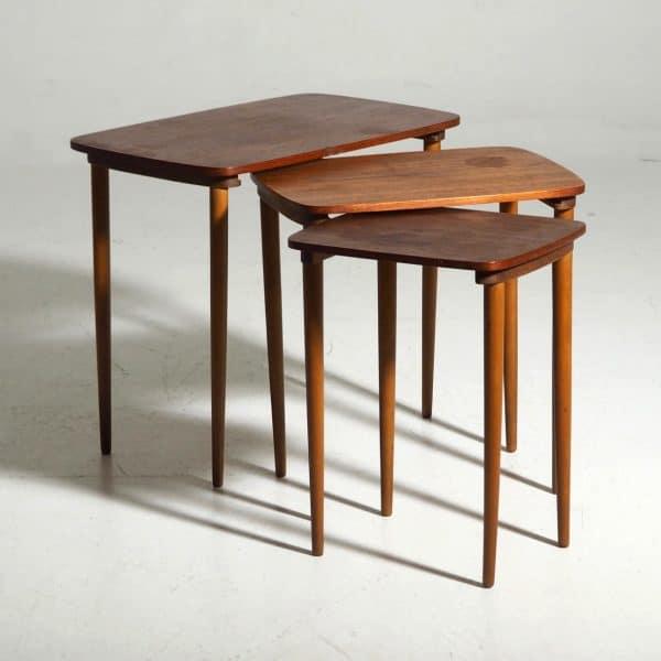 teak and beechwood nesting tables