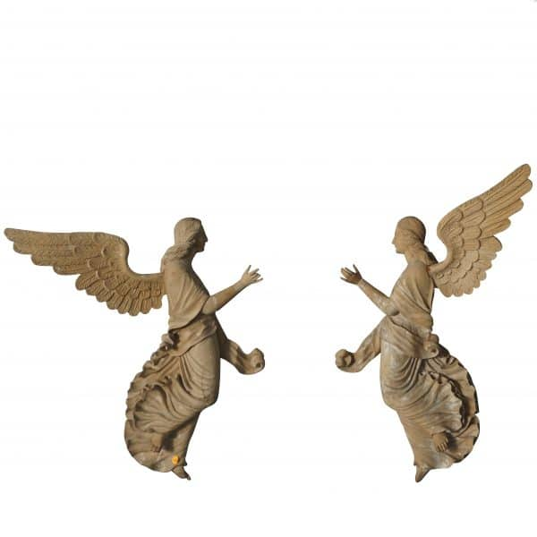 19th century wooden angels relief