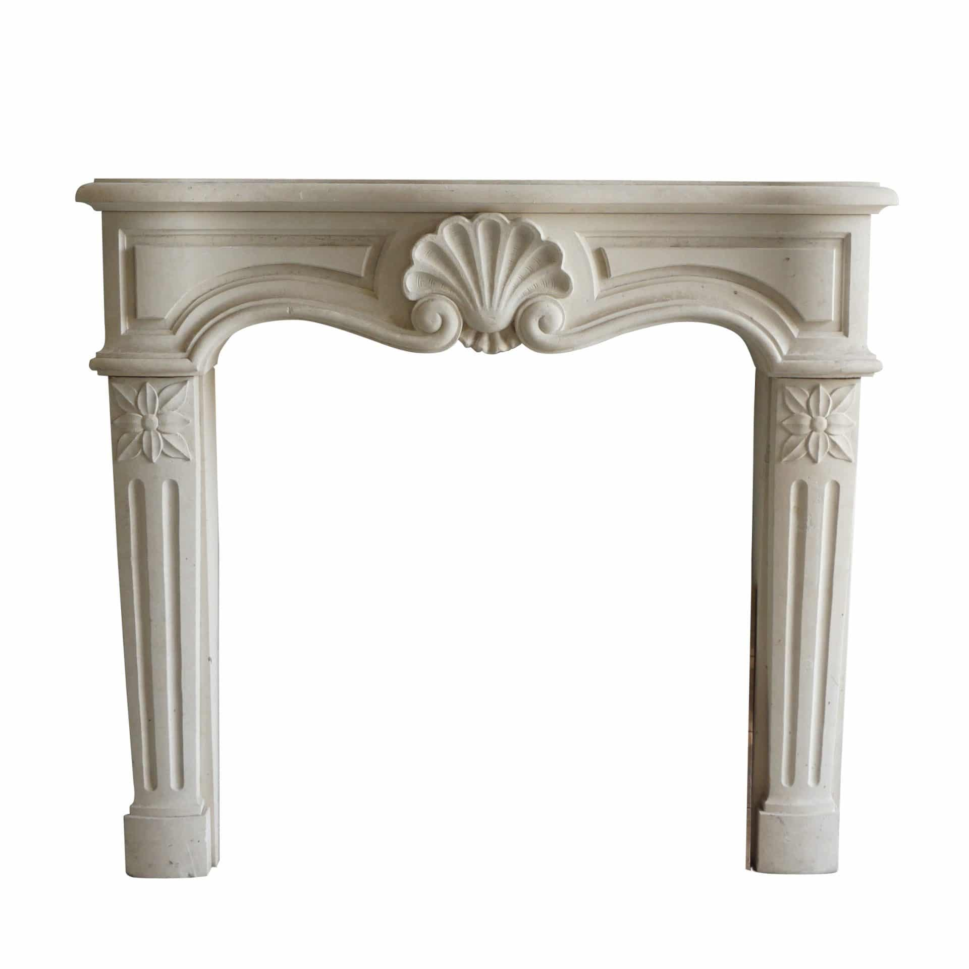 Louis XV style hand carved limestone fireplace surround with centered shell