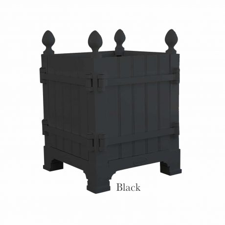 Authentic Provence Caisse de Versailles is composed of an aluminum frame with teak wood panels are durable and weather resistant. Paint: Black