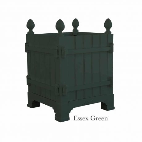 Authentic Provence Caisse de Versailles is composed of an aluminum frame with teak wood panels are durable and weather resistant. Paint: Essex Green