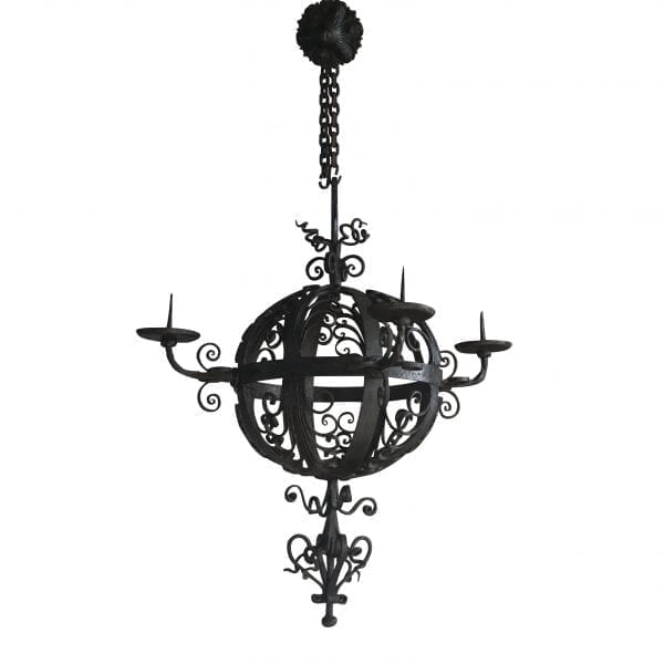 Charming antique French globe hanging light fixture with very detailed hand crafted wrought iron and unique vintage details. Circa 1890, France