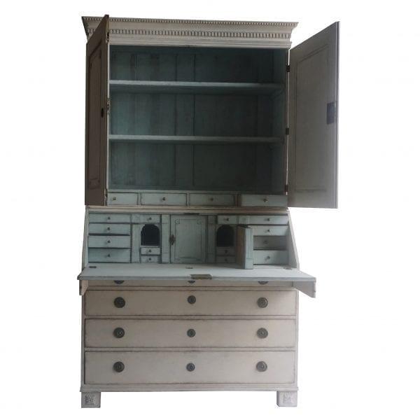 A late 18th Century Swedish drop front secretary desk bureau with numerous drawers