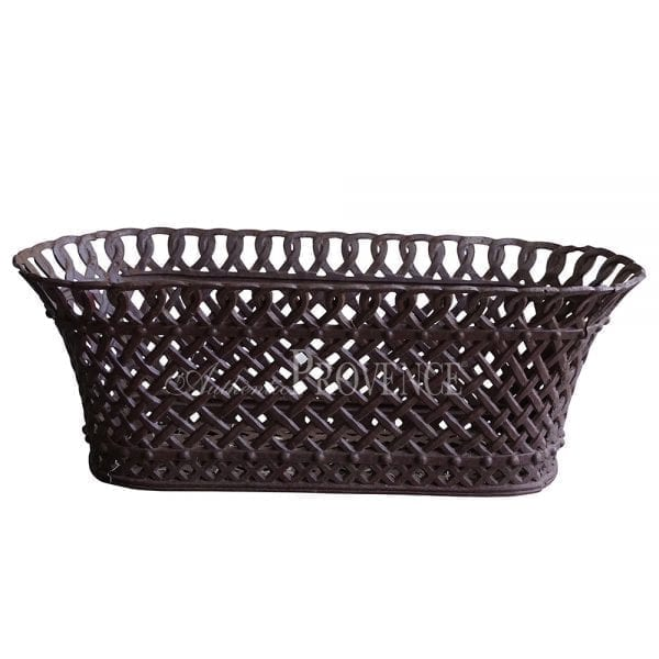 A pair of French oval cast iron woven basket planter with an intricate pattern.