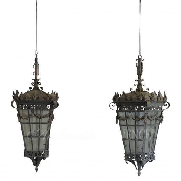 French Art Deco pair of monumental wrought iron hanging lanterns with very detailed iron work and handcrafted.Circa 1920 Paris