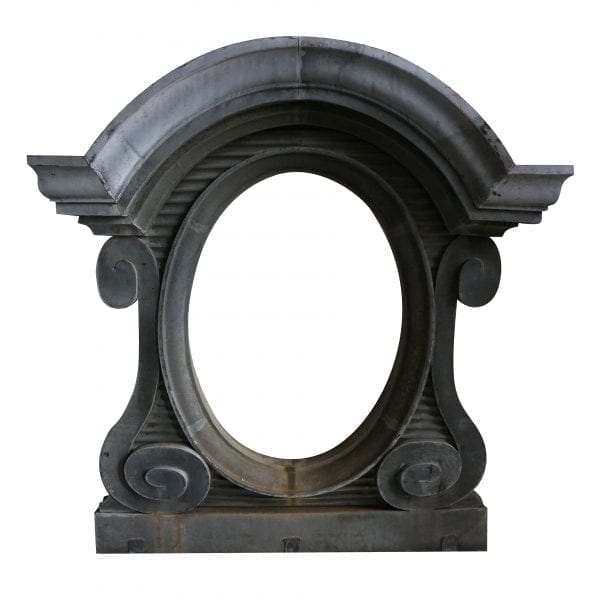 A 19th century zinc window surround with antiqued mirror glass from a palace in France