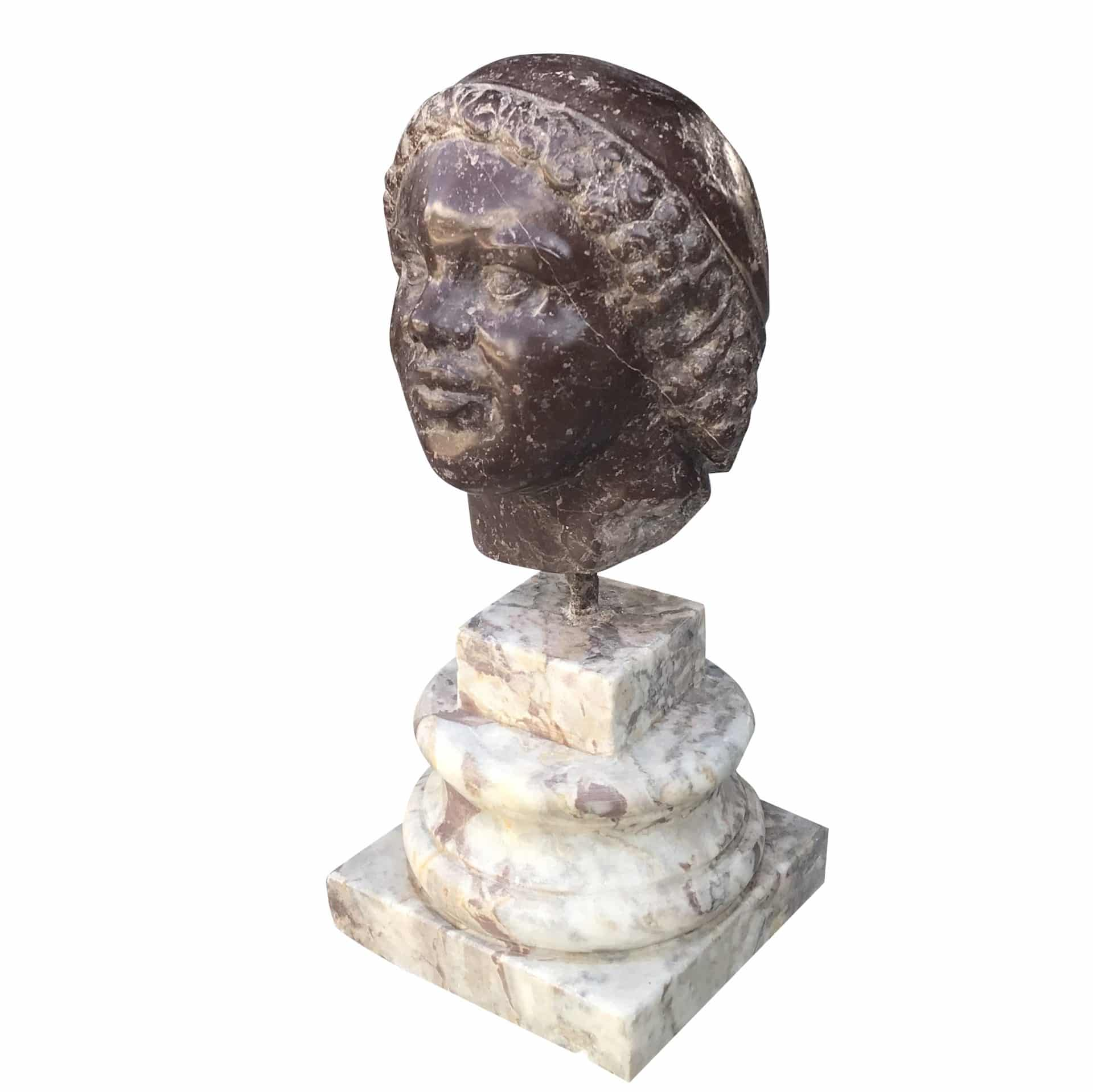 19th Century Sculptured Head in Marble