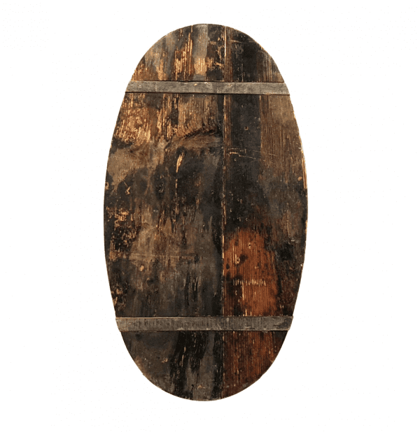 Back view of a hand painted wooden oval family crest