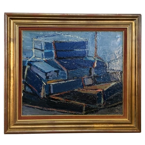 An abstract portrait in dark blue of books, oil on wood in canvas by Daniel Clesse, painted in France, signed and dated circa in 1990.