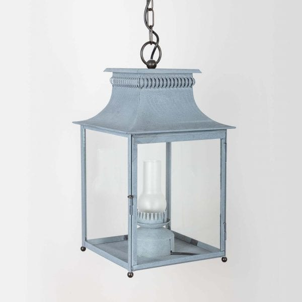 19th century electrified stable kerosene style lantern with tarnished glass tube, reflector on the back, and openable door on the front. Antique Zinc Finish