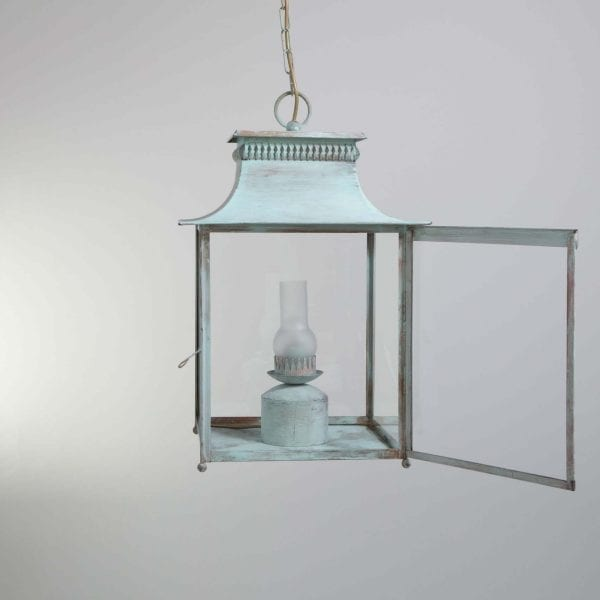 19th century electrified stable kerosene style lantern with tarnished glass tube, reflector on the back, and with opened door on the front. Vert de Gris finish
