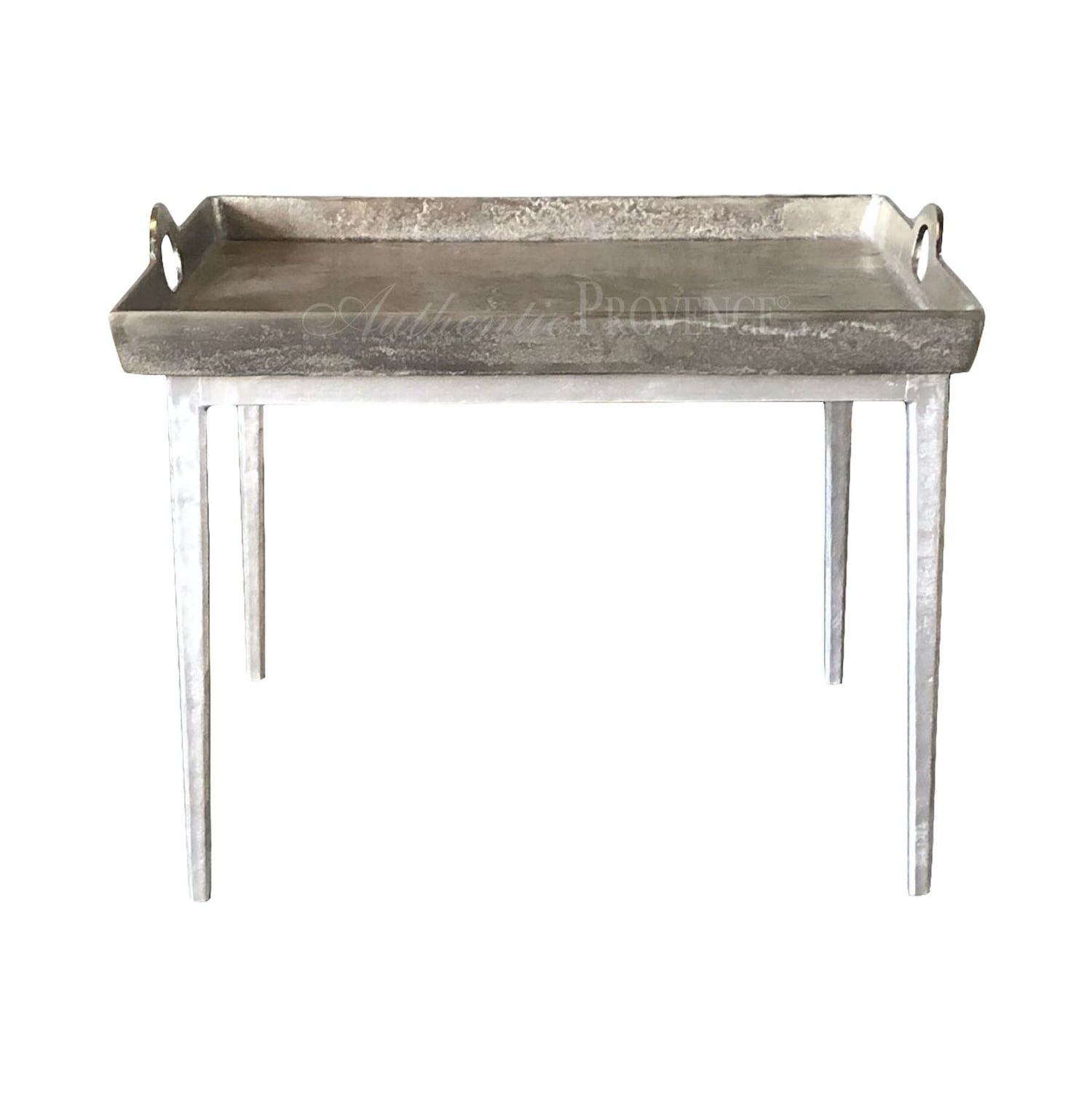 Belgian side table with hammered aluminum tray with lateral handles on metal tapered legs