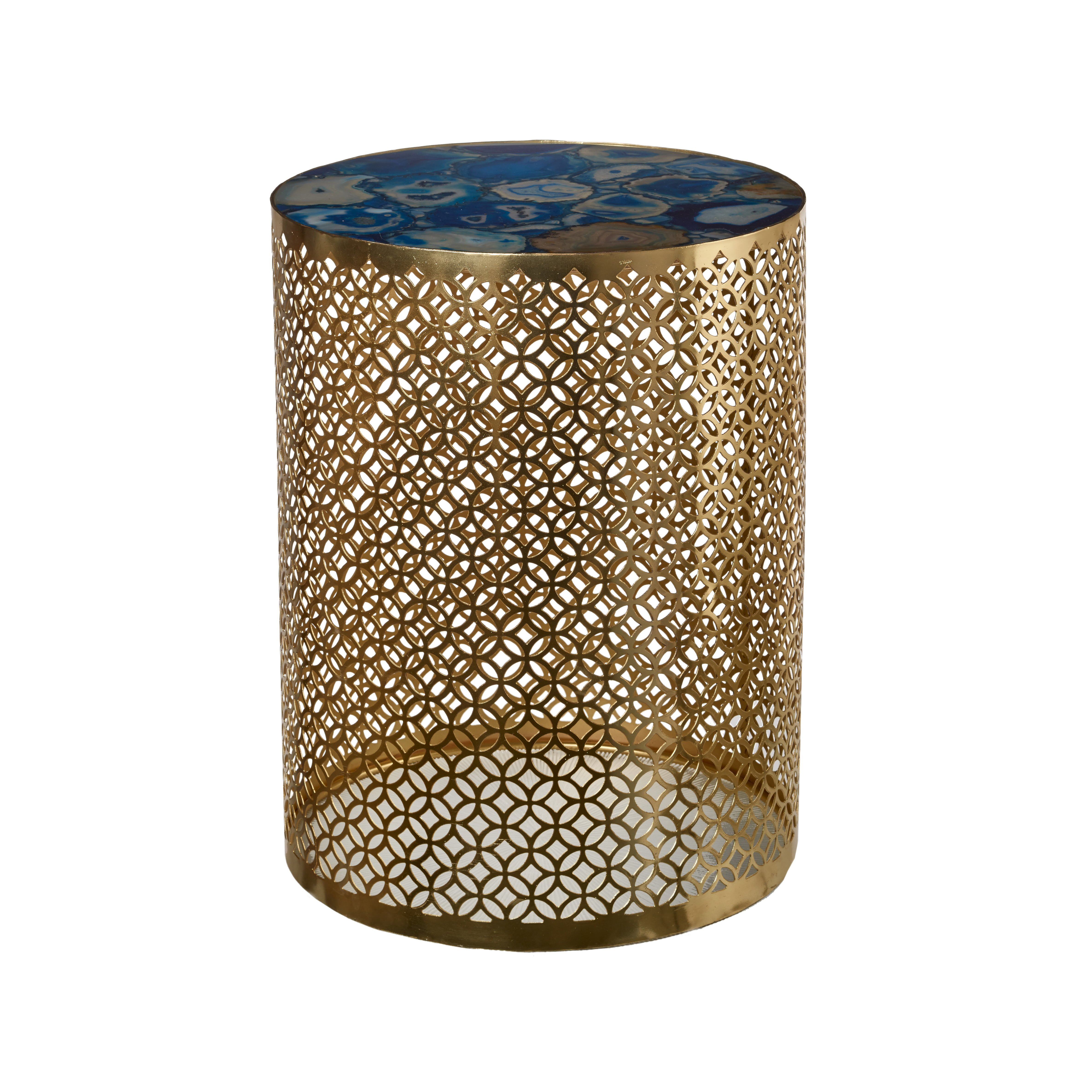 Exquisite round side table with golden metal base and decorative blue agate stone top