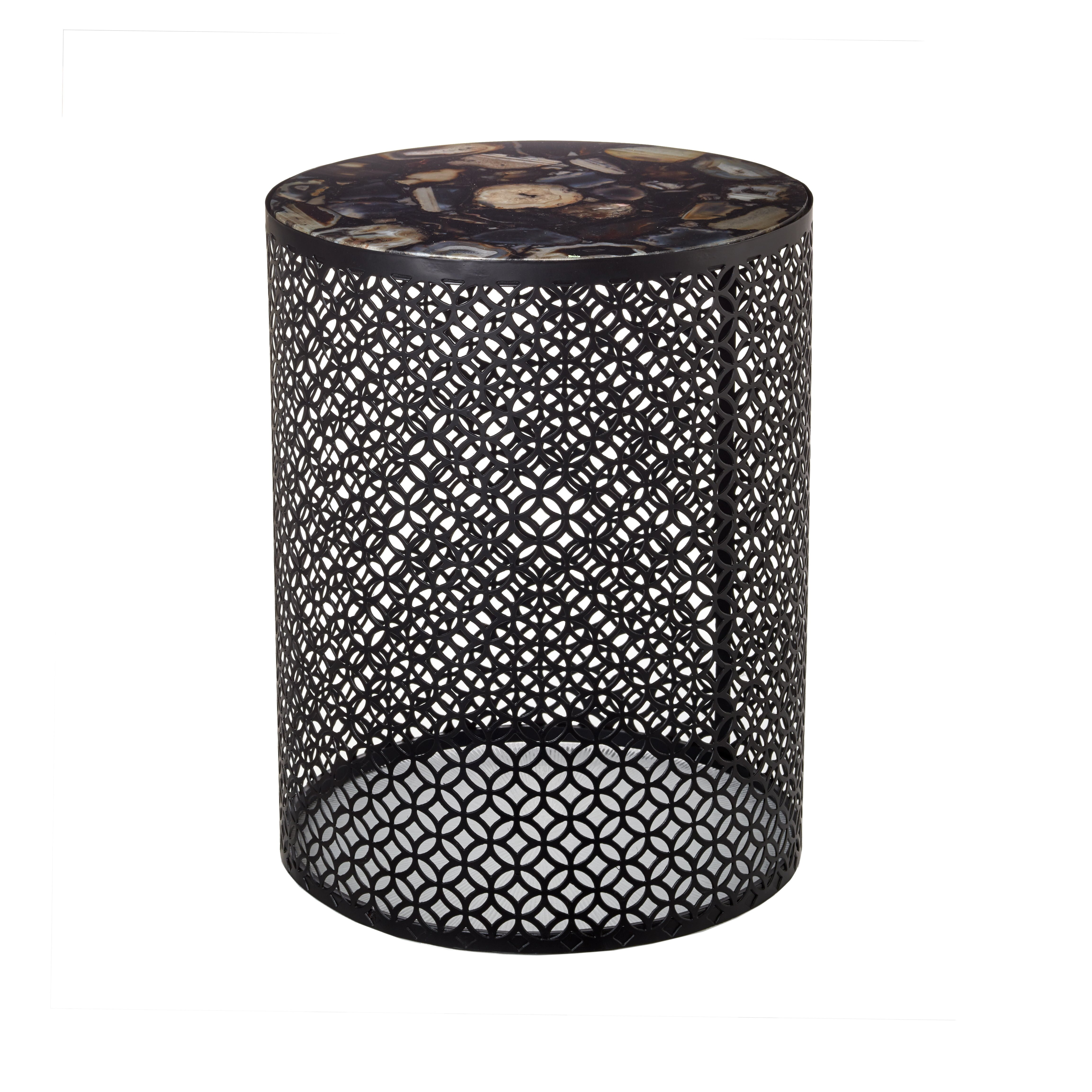 Exquisite round side table with black metal base and decorative agate stone top
