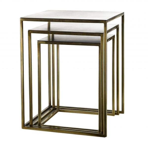 Three square metal nesting side tables with gold finish.