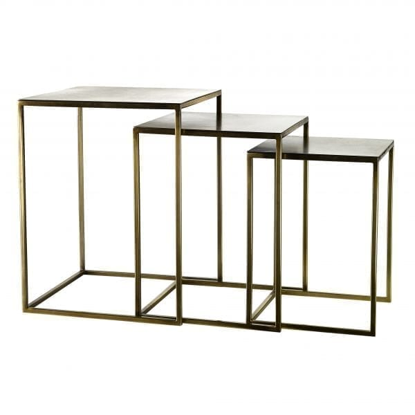 Three metal square nesting side tables with gold finish.