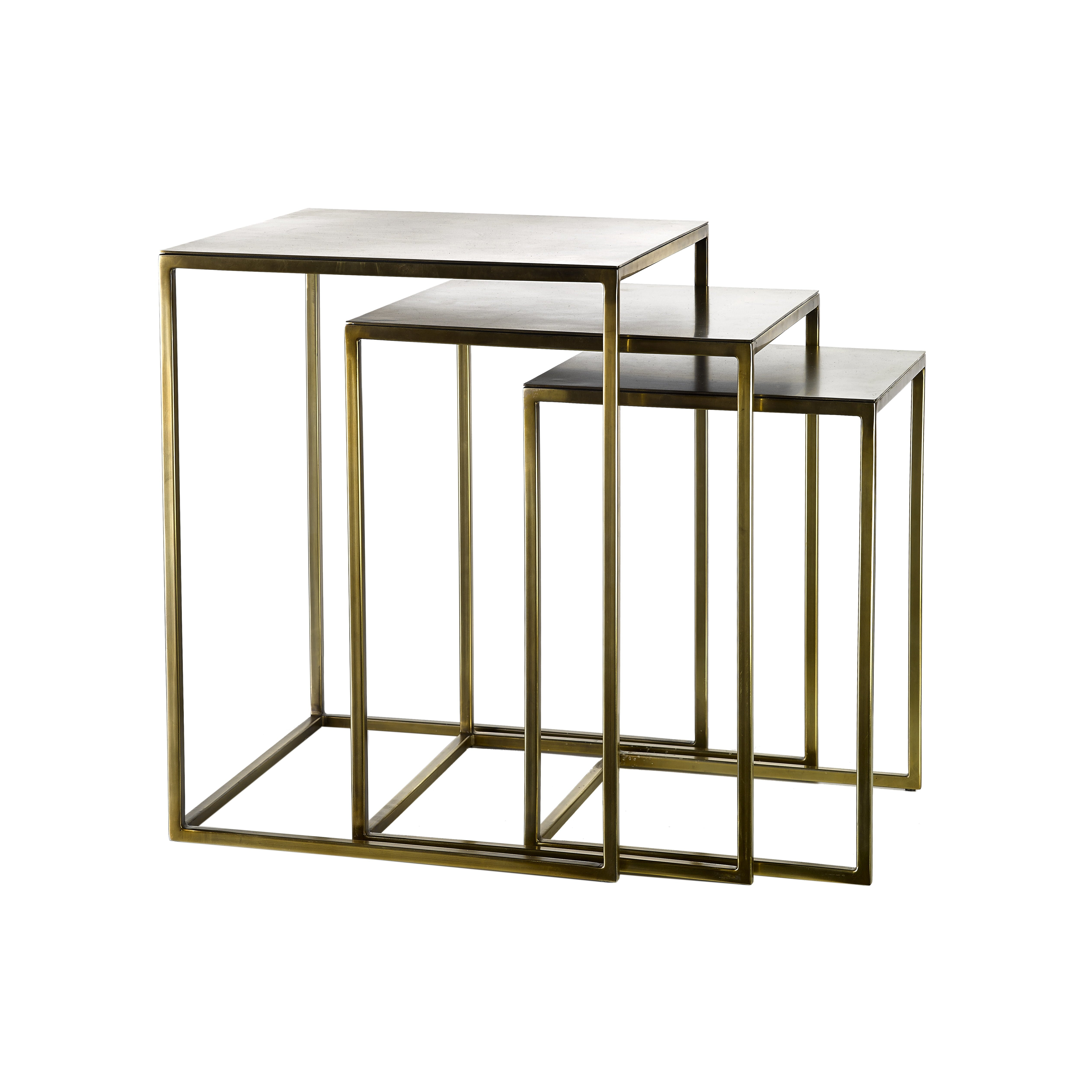 Set of three metal square nesting side tables with gold finish.
