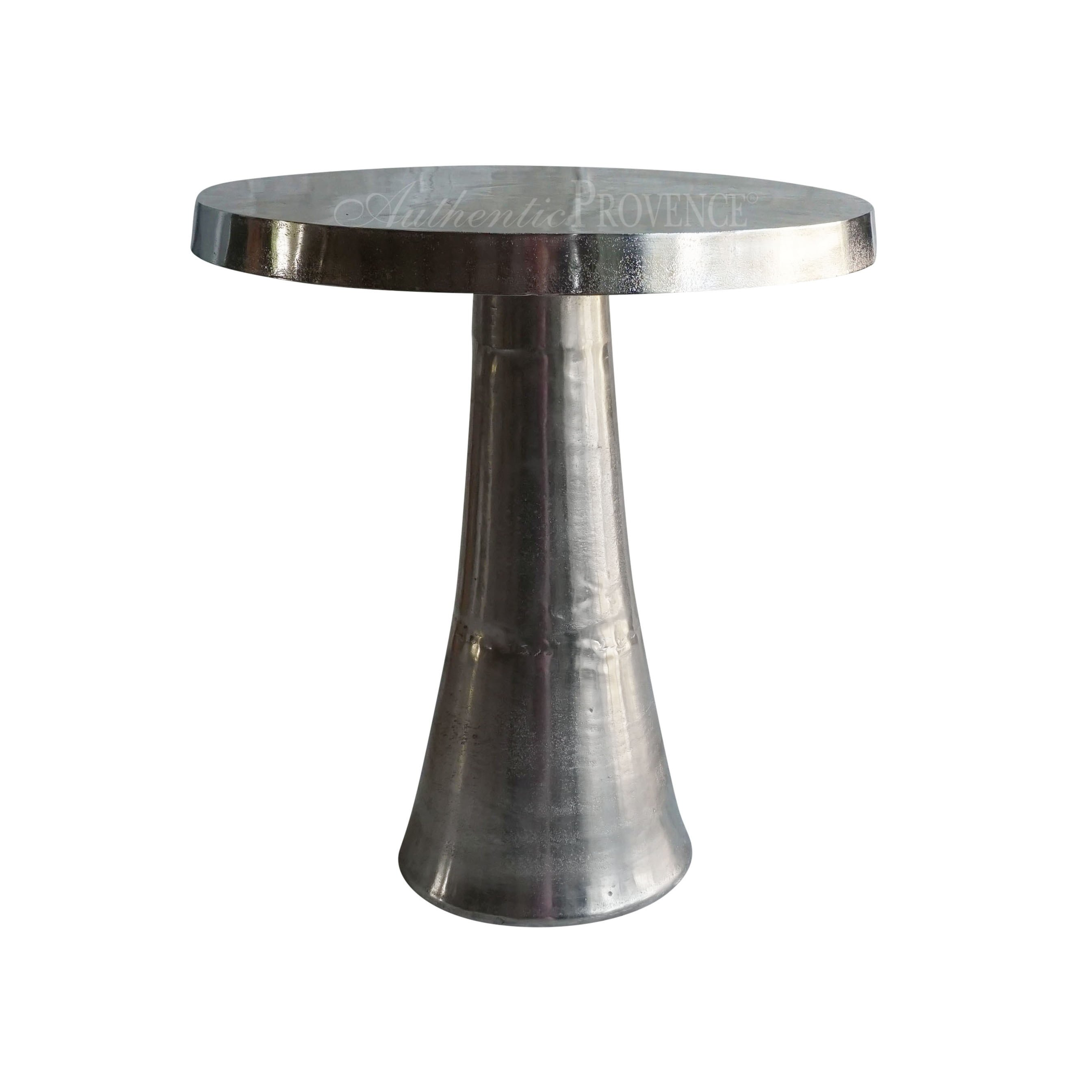Round side table made of nickel with round base