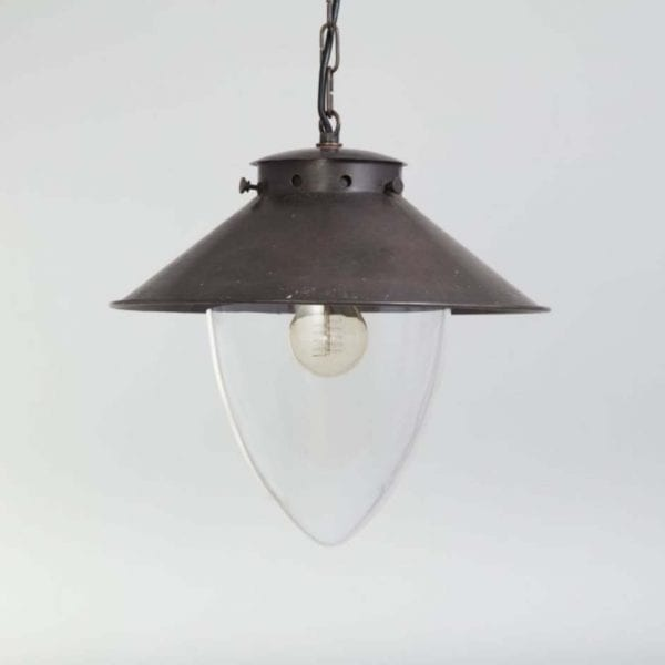 Handmade pendant lighting fixture with extra large glass globe and chain.Antique Brass finish