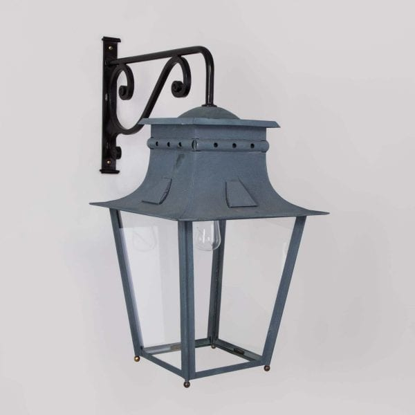 Classical French metal lantern inspired by the 19th Century designs. Antique Zinc Finish