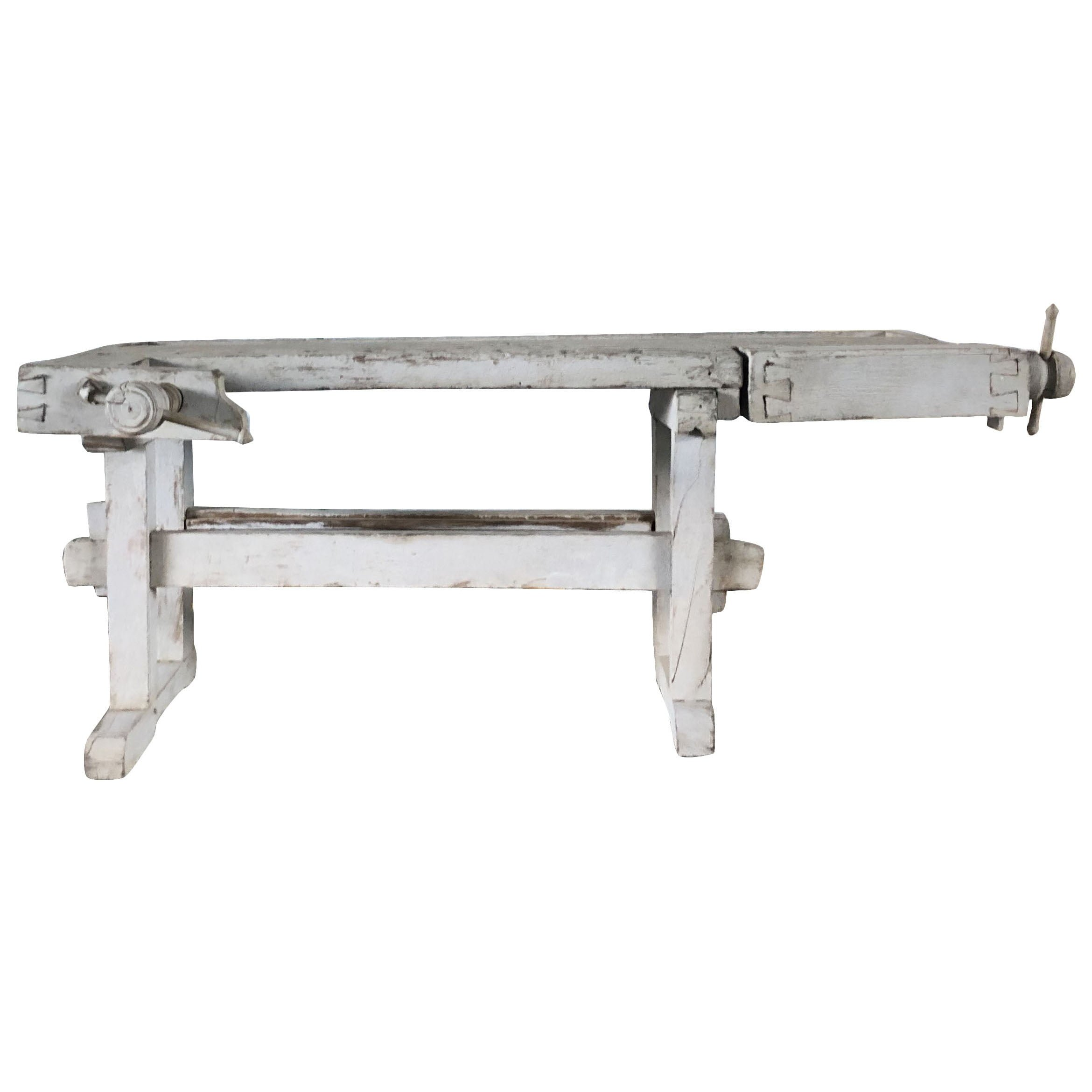 A very interesting Swedish working bench made of Pinewood in a pale grey antique finish.Circa 19th Century, Sweden, Scandinavia