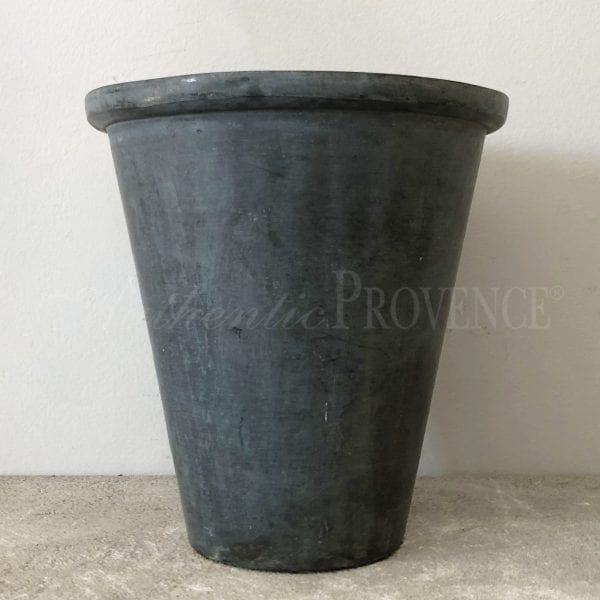 Small metal planter made of lead with small rim from Belgium