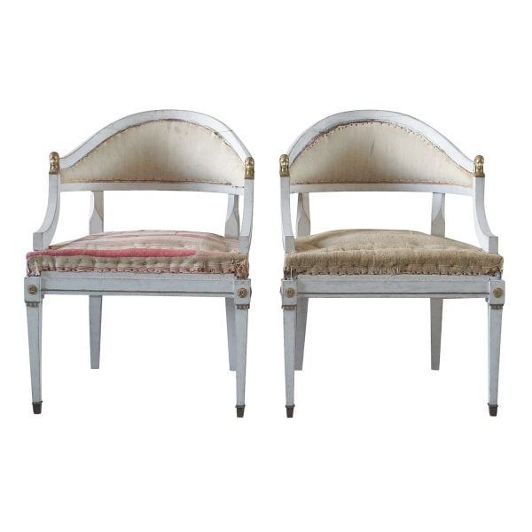 A 19th Century Swedish Gustavian pair of armchairs made of wood and bronze detailed in the Neoclassical Greek style.