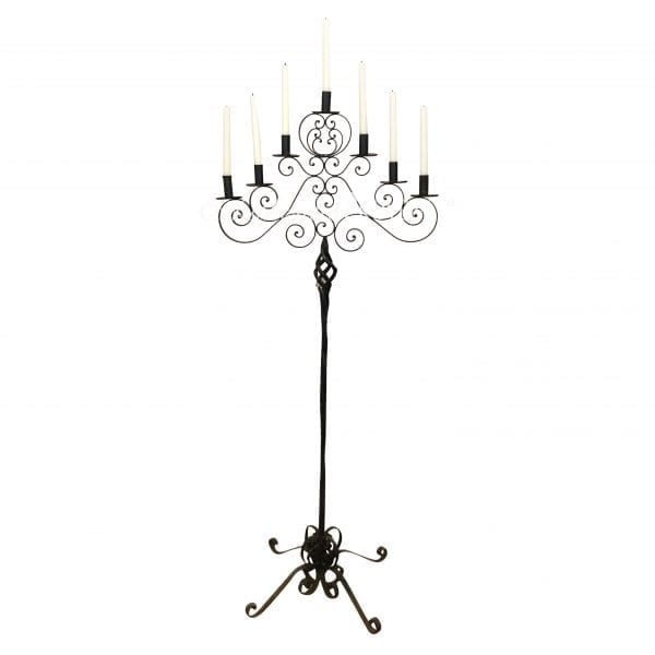 A unique late 19th Century French floor candle holder with wrought iron scrolls and seven candle holders. Circa 1890, France.