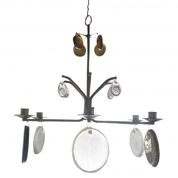 Mid-Century modern Swedish hanging candelabra with fourteen Orrefors glass elements in gold and clear glass and six candle holders. Produced by Boda