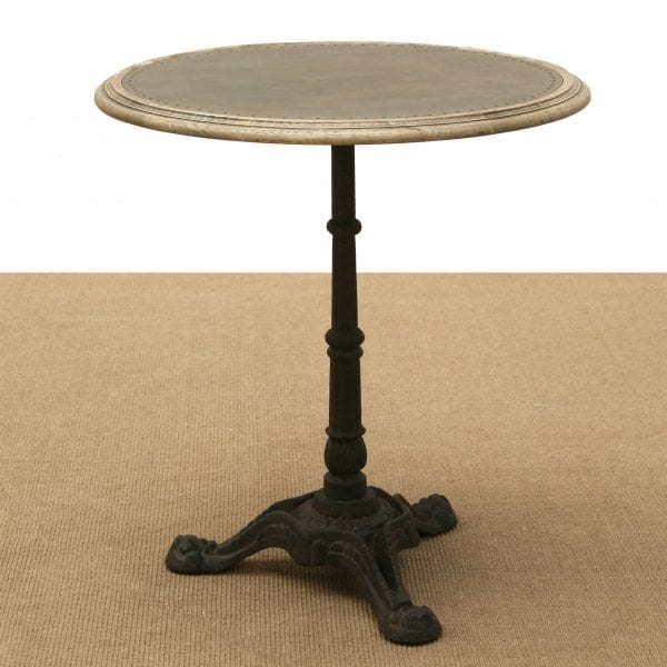 Traditional French round bistro table with a galvanized iron top