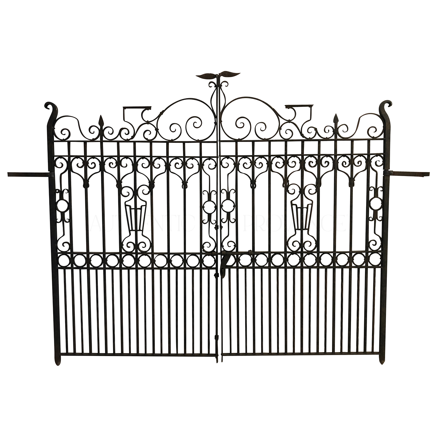 A 19th Century heavy double sided wrought iron entrance gate in the typical French décor