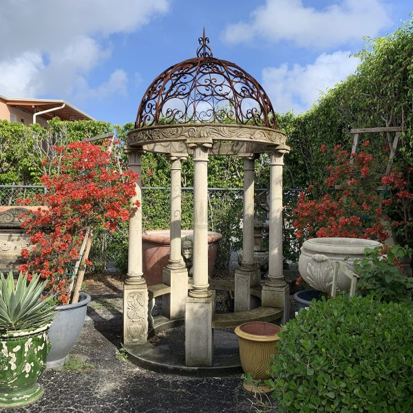 Five column gazebo with hand carved ornaments on the bottom base depicting Apulianflower vases with spilling over grapes and flowers